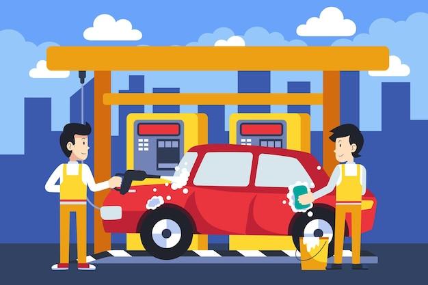 Ilustración de concepto de servicio de lavado de coches plano