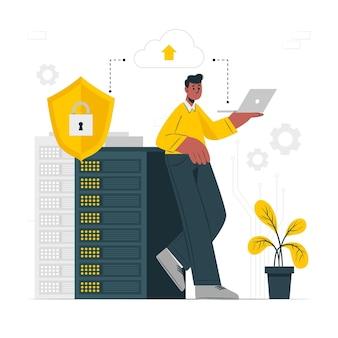 Ilustración del concepto de servidor seguro