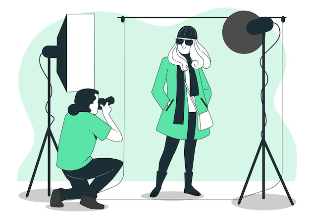 Ilustración de concepto de sesión de fotos de moda
