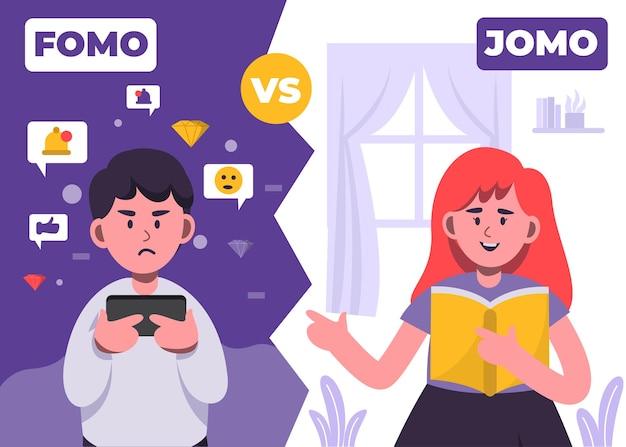 Ilustración del concepto de síndrome fomo y jomo