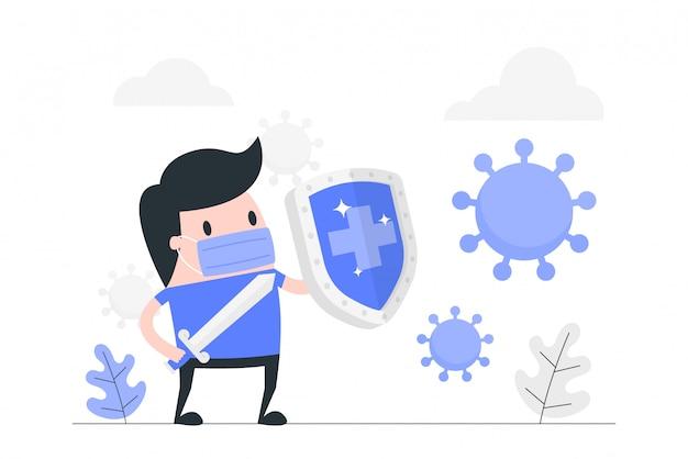 Ilustración del concepto del sistema inmune.