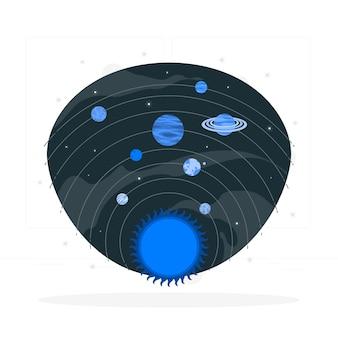 Ilustración del concepto de sistema solar