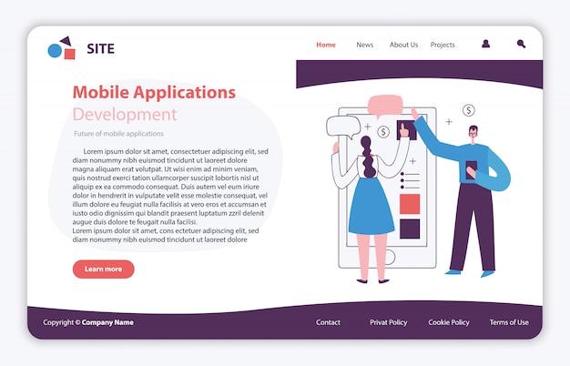 Ilustración de concepto de sitio de página web en diseño plano y limpio. landing page, aplicación de una sola página para desarrollo móvil, optimización, diseño.