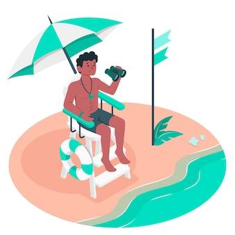 Ilustración del concepto de socorrista de playa