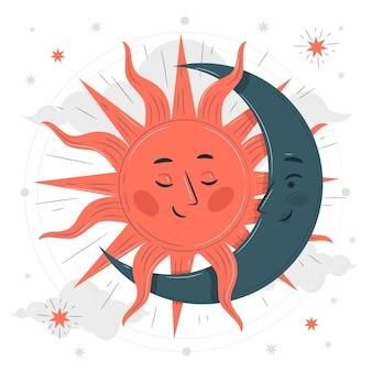 Ilustración del concepto de sol y luna