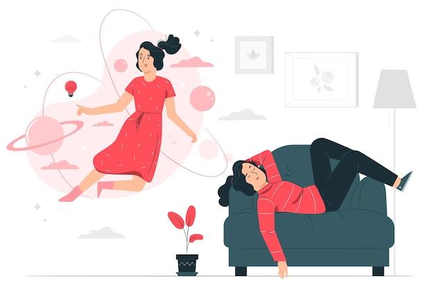 Ilustración del concepto de soñador