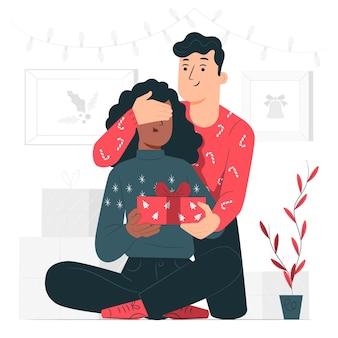 Ilustración del concepto de sorpresa de navidad