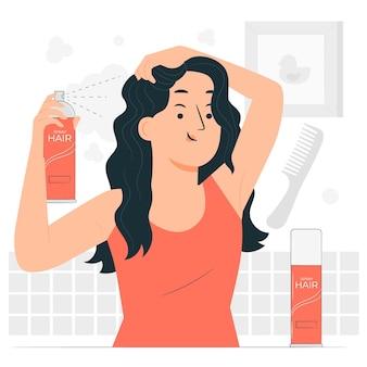 Ilustración de concepto de spray para el cabello