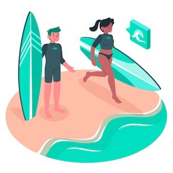 Ilustración del concepto de surfero