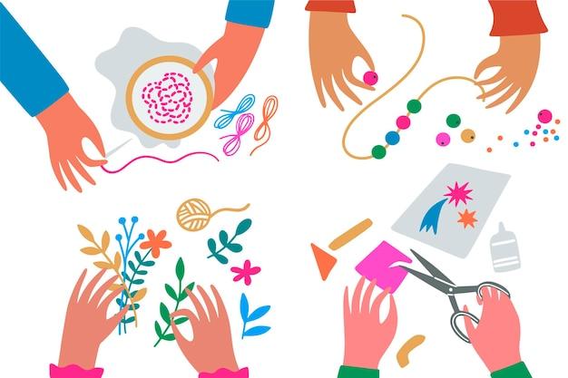 Ilustración de concepto de taller creativo de bricolaje vector gratuito