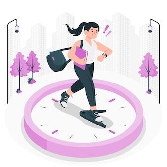 Ilustración del concepto de tardanza