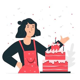 Ilustración del concepto de tarta de cumpleaños