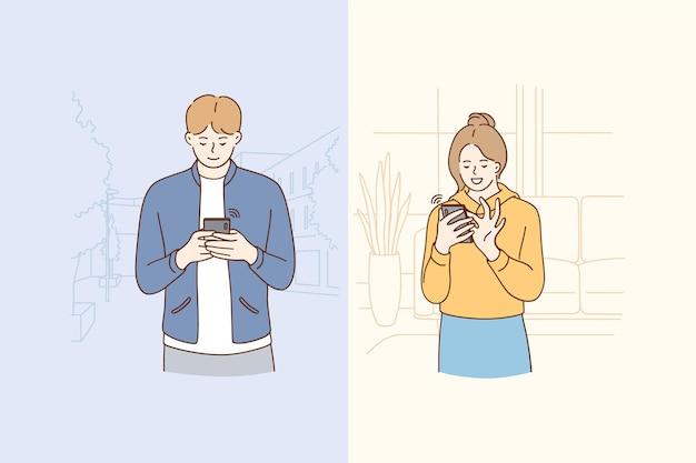 Ilustración de concepto de tecnología y chat en línea