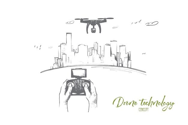 Ilustración de concepto de tecnología de drones