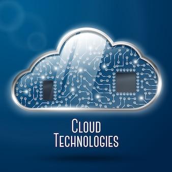 Ilustración del concepto de tecnología informática en la nube, acero con nube de vidrio y microchips de relojería encubiertos