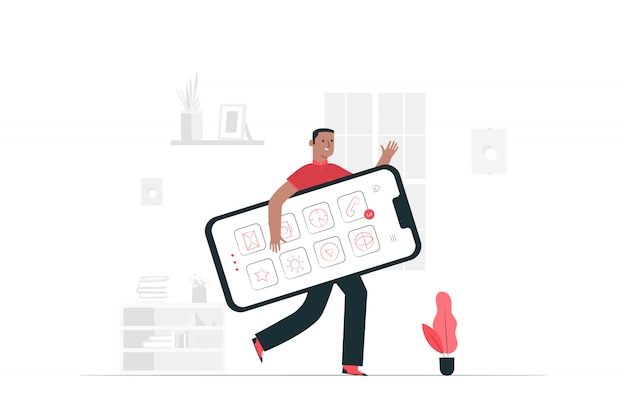 Ilustración del concepto de teléfono inteligente