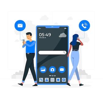 Ilustración del concepto de teléfono móvil