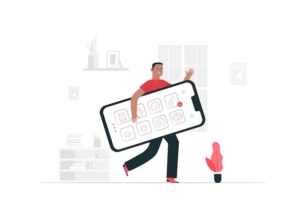 Ilustración del concepto de teléfono