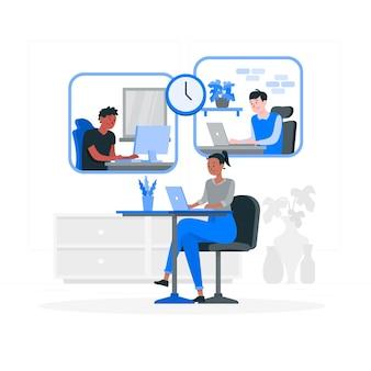 Ilustración del concepto de teletrabajo