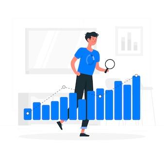 Ilustración del concepto de tendencias de datos