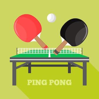 Ilustración del concepto de tenis de mesa
