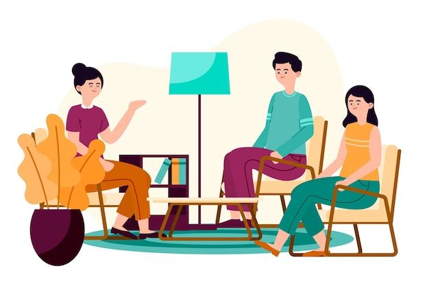 Ilustración del concepto de terapia de grupo