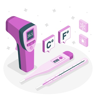 Ilustración del concepto de termómetro