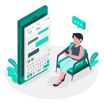 Ilustración del concepto de texting