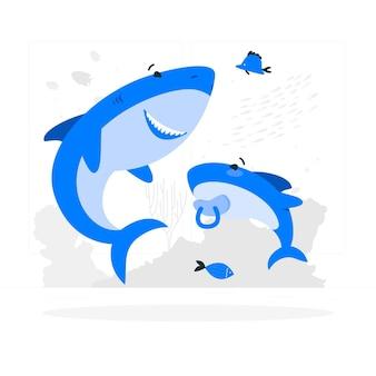 Ilustración de concepto de tiburón bebé