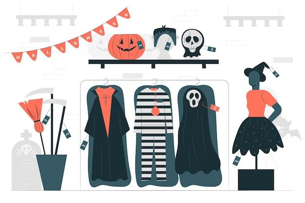 Ilustración de concepto de tienda de disfraces