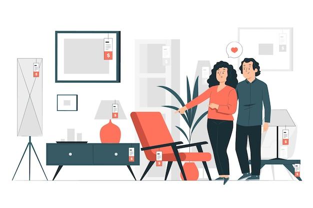 Ilustración de concepto de tienda de muebles