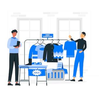Ilustración de concepto de tienda de segunda mano