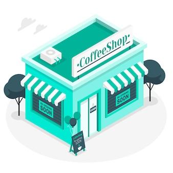 Ilustración del concepto de tiendas reabriendo pronto