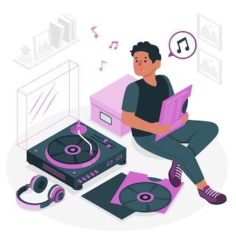 Ilustración de concepto de tocadiscos