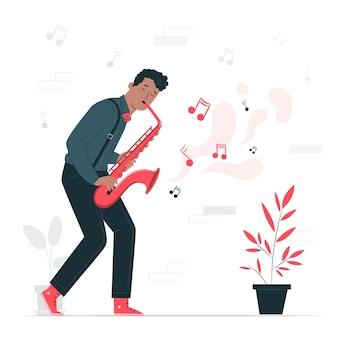 Ilustración del concepto de tocar música