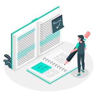 Ilustración del concepto de tomar notas