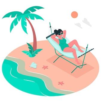 Ilustración del concepto de tomar el sol en una hamaca