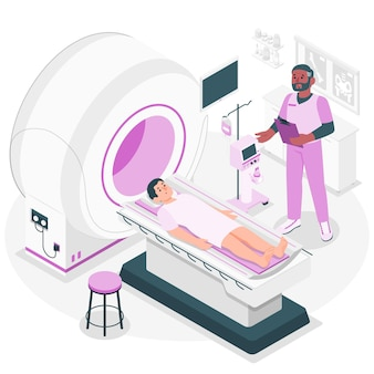 Ilustración del concepto de tomografía computarizada