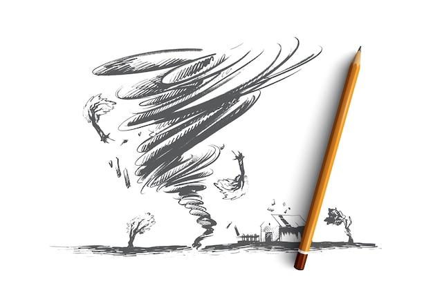 Ilustración del concepto de tornado