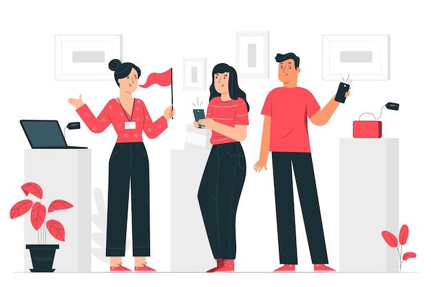 Ilustración del concepto de tour del producto