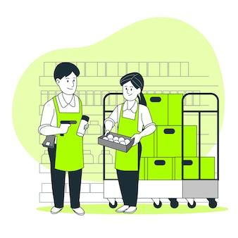 Ilustración del concepto de trabajadores de supermercado