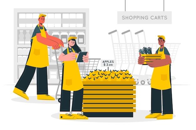 Ilustración de concepto de trabajadores de supermercado
