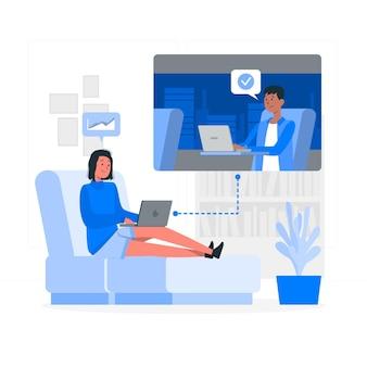 Ilustración del concepto de trabajando de forma remota