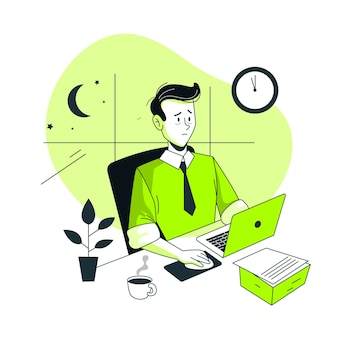 Ilustración del concepto de trabajando tarde
