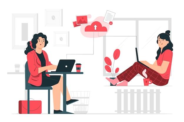 Ilustración del concepto de trabajar de forma remota