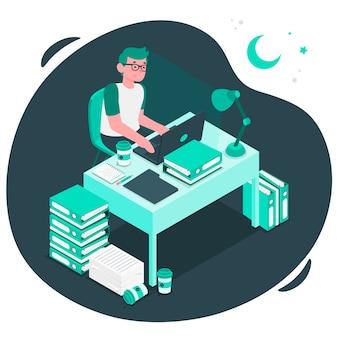 Ilustración del concepto de trabajar tarde