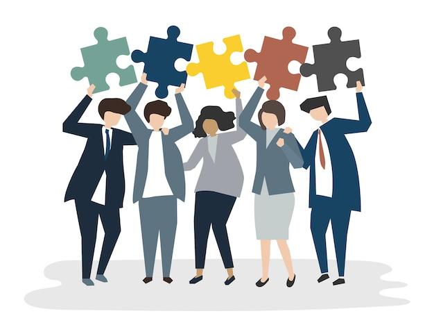Ilustración del concepto de trabajo en equipo avatar de personas