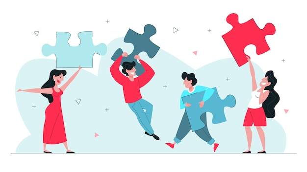 Ilustración del concepto de trabajo en equipo. idea de trabajar juntos.