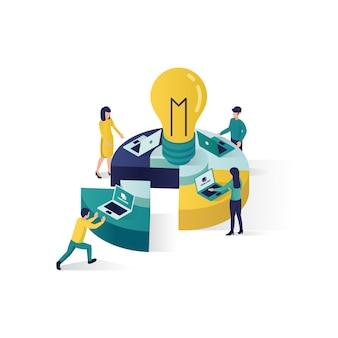 Ilustración de concepto de trabajo en equipo ilustración isométrica cooperación concepto de asociación en estilo isométrico.