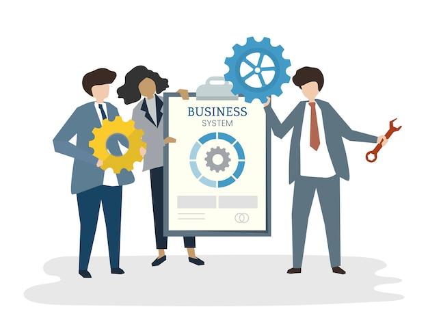 Ilustración del concepto de trabajo en equipo de negocios avatar de personas